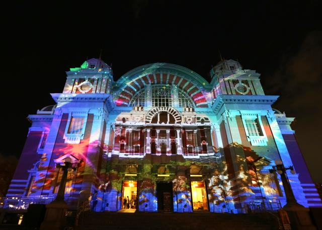 The historic Osaka Public Hall is illuminated during the Osaka Feast of Light at Nakanoshima on December 15, 2013 in Osaka, Japan.