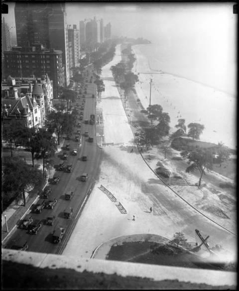 Lake Shore Drive, looking North from the Drake Hotel, circa July 5, 1927.