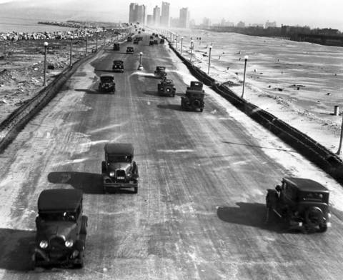 The scene looking South from 39th Street over Lake Shore Drive in May 1930 after it had been opened to traffic.