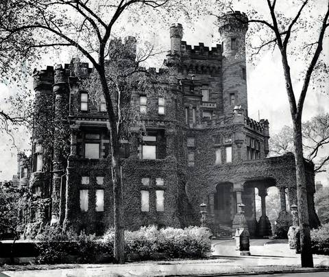 The famous Potter Palmer mansion on Lake Shore Drive and Schiller Street in Chicago, which was torn down and an apartment building was built in its place in 1950. The Palmer mansion established the Gold Coast neighborhood on Lake Shore Drive.