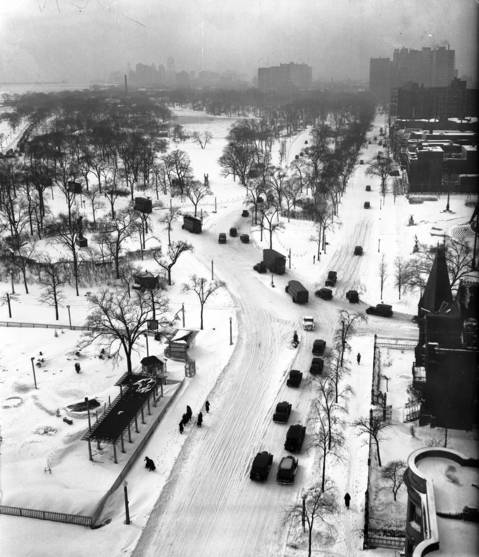 A snow filled Lake Shore Drive looking South from Diversey Parkway from atop the Park Lane Hotel in Chicago, circa 1932.