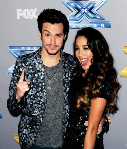 "Singers Alex (L) and Sierra pose backstage after winning season three at Fox's ""The X Factor"" Season Finale at CBS Television City on December 19, 2013 in Los Angeles, California."