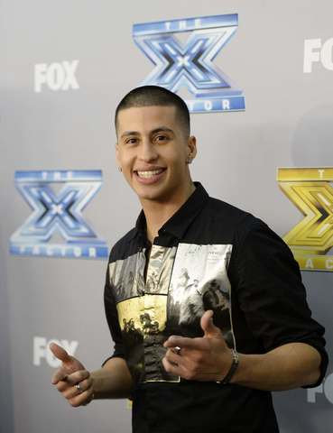 "Finalist Carlito Olivero poses backstage after ""The X Factor"" finale in Los Angeles, California, December 19, 2013. Winners Alex Kinsey and Sierra Deaton won a $1 million recording contract with Sony Music Entertainment."