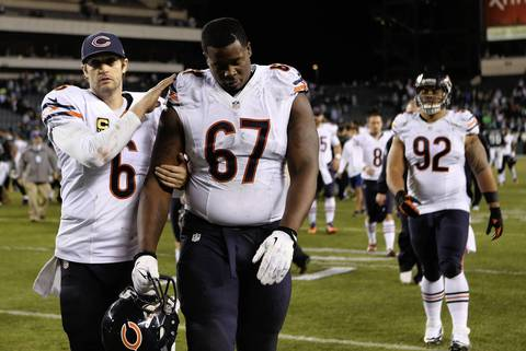 CHRIS SWEDA: Even though the Bears lost this game on defense, offensive tackle Jordan Mills (67) was obviously dejected while walking off the field after the game. It was a nice moment for me once quarterback Jay Cutler came over to console Mills.