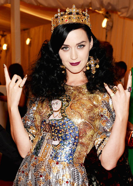 Katy Perry wears a crown at the 2013 Costume Institute Gala at the Metropolitan Museum of Art.