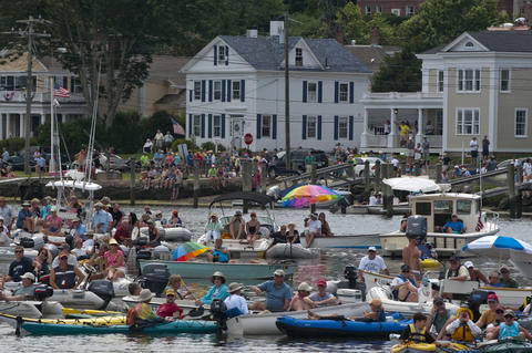2013.07.21 - Mystic, CT - Crowds gather by land and by sea around the Mystic Seport to watch the launch of the Charles W. Morgan.