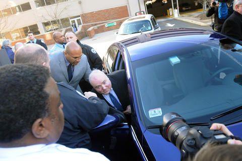 STAMFORD--11/21/13--Michael Skakel gets into a car after being bailed out at the court at Stamford Thursday afternoon.