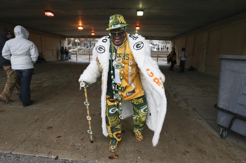 Tony Leonard, of Houston, Texas, walks outside Soldier Field, before the Chicago Bears game on Dec. 29.