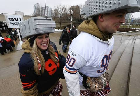 Briana Culberson, and her husband Ryan Culberson, of Orange County California, at Soldier Field before the Chicago Bears take on the Green Bay Packers.