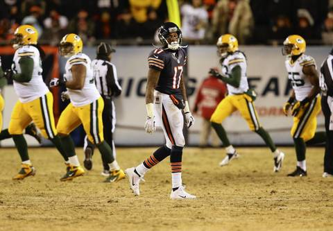 Chicago Bears wide receiver Alshon Jeffery (17), watches the scoreboard after his fumble during the second quarter against the Packers.