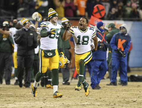 The Packers' Randall Cobb (18) celebrates his team's win over the Bears.