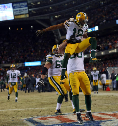 The Packers' Randall Cobb celebrates his go-ahead touchdown in the final minute.
