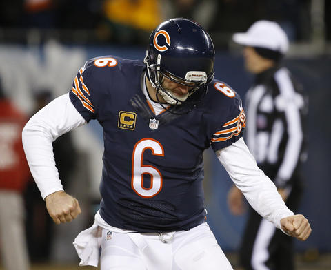 Jay Cutler reacts after a touchdown catch by Brandon Marshall in the fourth quarter.