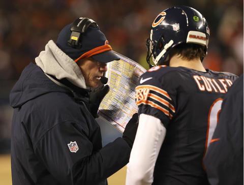 Bears coach Marc Trstman with quarterback Jay Cutler.