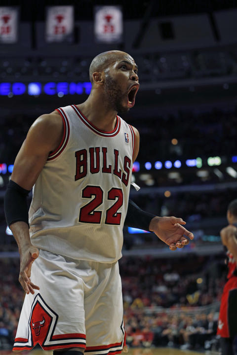 Taj Gibson reacts to foul call late in the 4th quarter.