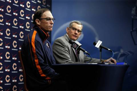 Chicago Bears head coach Marc Trestman (left) and GM Phil Emery hold a press conference at Halas Hall in Lake Forest on Thursday.