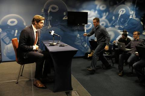 Chicago Bears quarterback Jay Cutler speaks to the media at a press conference Thursday.