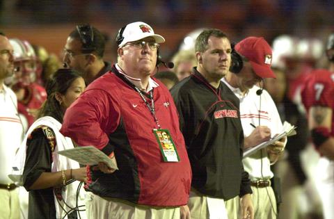 Terps coach Ralph Friedgen shows a look of disappointment as he looks at the clock and sees time running out on his team.