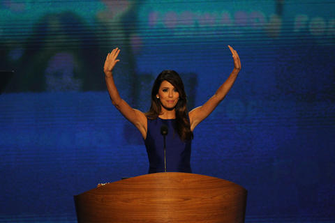 Actress Eva Longoria speaks during the Democratic National Convention at Time Warner Cable Arena in downtown Charlotte, N.C.