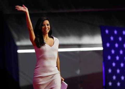 Eva Longoria speaks during a National Day of Service kickoff event on the National Mall in Washington D.C.