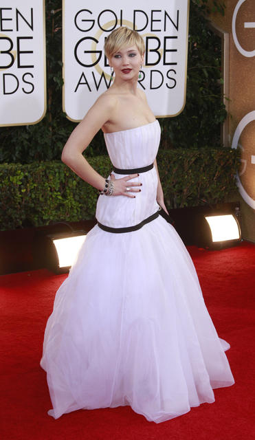 """American Hustle"" actress Jennifer Lawrence wears a Dior gown."