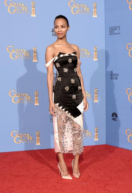 Zoe Saldana wears custom-made Prabal Gurung.