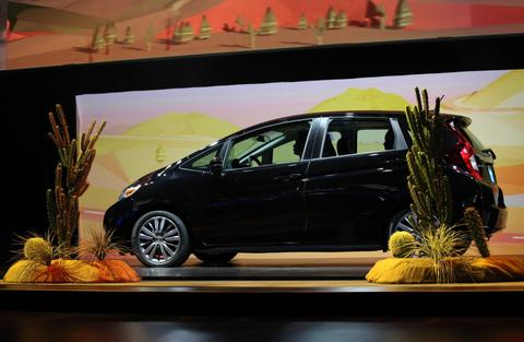 The 2015 Honda Fit is displayed during the 2014 North American International Auto Show in Detroit, on Monday, Jan. 13, 2014.