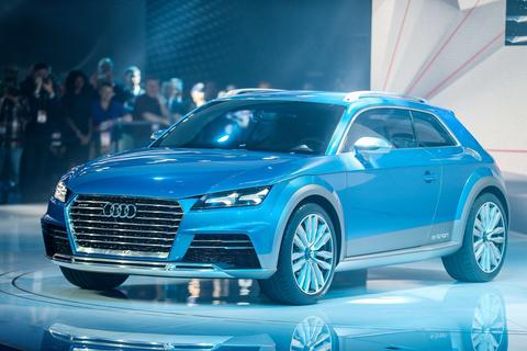 The Audi E-Tron Quattro Allroad Concept vehicle is unveiled at the 2014 North American International Auto Show in Detroit, Michigan, January 13, 2014.