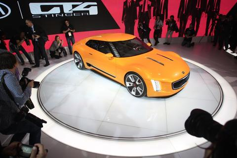 Kia's GT4 Stinger concept car is introduced at the 2014 North American International Auto Show in Detroit, Michigan, on January 13, 2014.