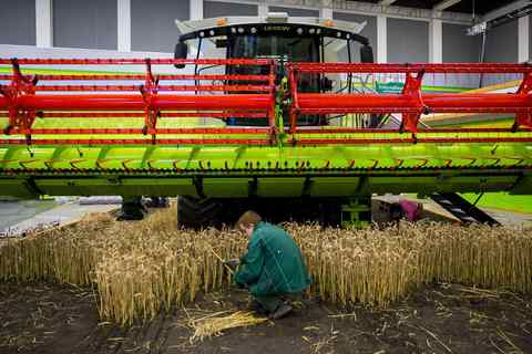 A worker creates an artificial cornfield at the Adventure Farm pavilion during preparations for the Green Week international food, agriculture and horticulture fair in Berlin, January 15, 2014.