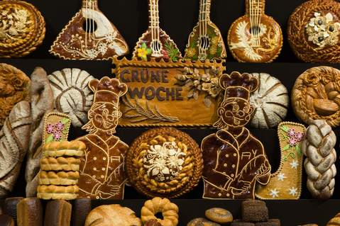 Various bread creations are displayed at the Russia pavilion during preparations for the Green Week international food, agriculture and horticulture fair in Berlin, January 16, 2014.