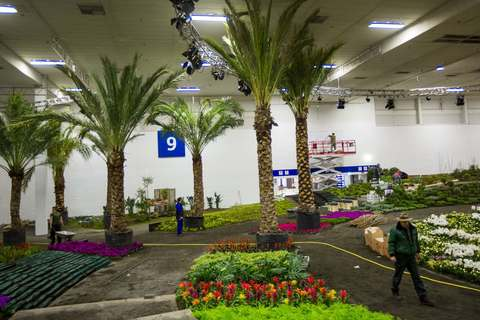 A worker walks through the plant and flower pavilion during preparations for the Green Week international food, agriculture and horticulture fair in Berlin, January 15, 2014.