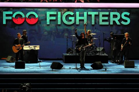 The Foo Fighters perform during the Democratic National Convention at Time Warner Cable Arena in downtown Charlotte, N.C.
