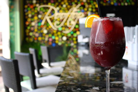 Strawberry Sangria  Ingredients: Malbec, Gran Gala, black raspberry & strawberry purée, brandy, soda, orange juice  Price: $9  Rooftop120's four sangrias are the location's top sellers offered in a variation of sweetness and fruity flavors.