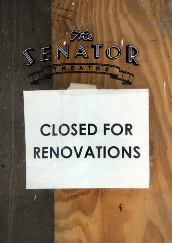 Renovations continue at the Senator Theatre.
