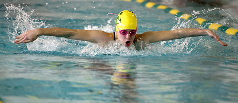 Emmaus' Miranda O'Donald in the 200 Yard Medley Relay  against Central Catholic in their Lehigh Valley Conference High School swimming meet at Emmaus on Thursday.
