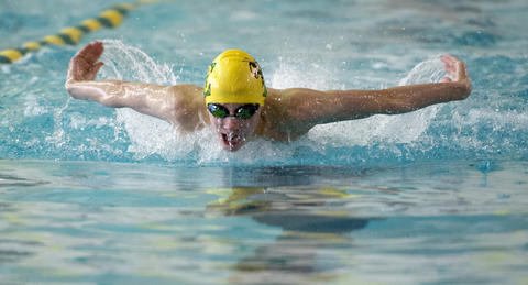 Emmaus' Tom Schlechter in the 200 Yard IM against Central Catholic in their Lehigh Valley Conference High School swimming meet at Emmaus on Thursday.