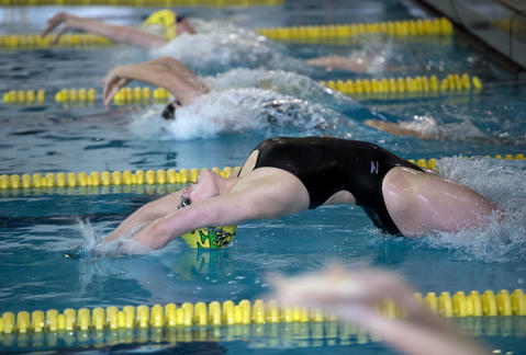Emmaus' Maura Beuttel at the start of the 200 Yard Medley Relay against Central Catholic in their Lehigh Valley Conference High School swimming meet at Emmaus on Thursday.