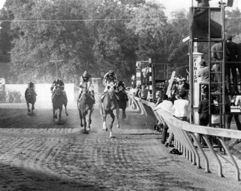 See, there's this little horse race at Pimlico every May ...   (Pictured: Secretariat at the 1973 Preakness Stakes.)