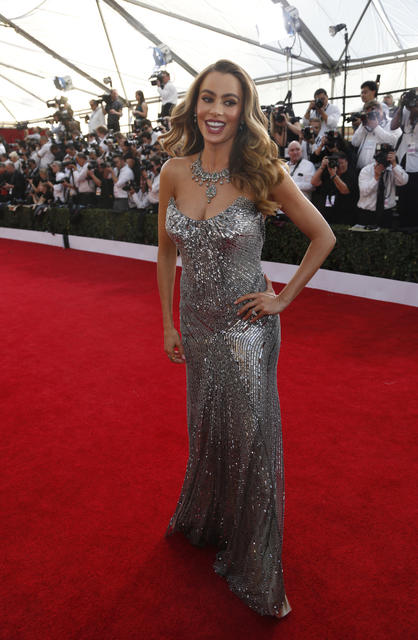 The chunky necklace is too much on top of Sofia Vergara's metallic figure-hugging Donna Karan gown.