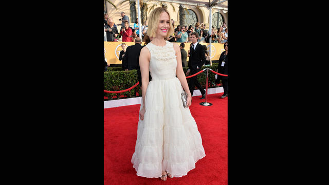 Sarah Paulson's Rochas dress is romantic to a fault. Too cutesy for the 39-year-old star.