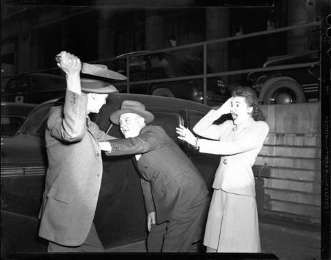 A 1944 photo re-enactment from the Police Reporter! series.