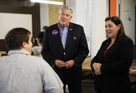 "Republican Gubernatorial candidate Kirk Dillard and Lt. Gov. candidate Jil Tracy tour digital business incubator ""1871"" at the Merchandise Mart."