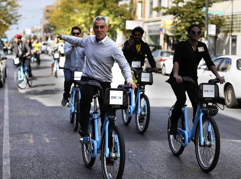 Mayor Rahm Emanuel leads a Divvy bike tour down Milwaukee Avenue as part of Chicago Ideas Week. Riders visited the future Bloomingdale Trail and historic boulevards of Palmer Square and Logan Square. The tour ended with lunch at Revolution Brewing.