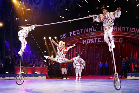 """The Faltiny"" act performs during the 38th Monte-Carlo International Circus Festival in Monaco January 16, 2014."