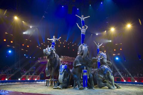 Performers take part in the 38th International Circus Festival  on January 21, 2014 in Monte-Carlo, Monaco.