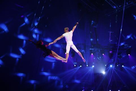 """Desire of Flight"" perform during the 38th Monte-Carlo International Circus Festival in Monaco on January 16, 2014."