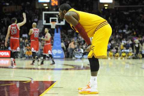The Cavaliers' Kyrie Irving reacts in the fourth quarter against the Bulls.