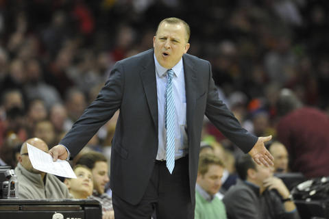 Bulls coach Tom Thibodeau reacts in the third quarter against the Cavaliers at Quicken Loans Arena.