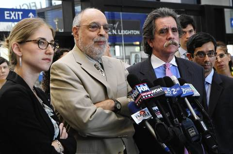 """Attorneys for the """"NATO 3"""" are, from left, Sarah Gelsomino, Michael Deutsch, Thomas Durkin and Joshua Herman."""